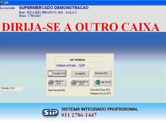 Tela de Menu Principal do Sistema Caixa - Checkout - Sip Vendas Supermercado
